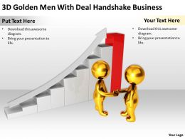 3D Golden Men With Deal Handshake Business Ppt Graphics Icons Powerpoint