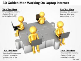 3D Golden Men Working On Laptop Internet Ppt Graphics Icons Powerpoint