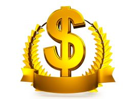 3d Golden Wreath Around Dollar Symbol As Winner Award Stock Photo