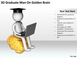 3D Graduate Man On Golden Brain Ppt Graphics Icons