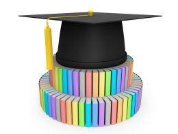 3D Graduation Cap On Books Stock Photo