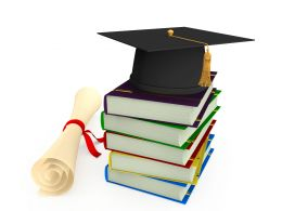 3D Graduation Cap On Books With Degree Stock Photo