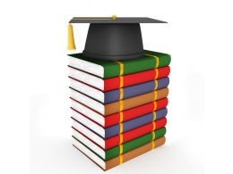 3D Graduation Cap With Colored Books Stock Photo