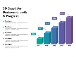 3d Graph For Business Growth And Progress
