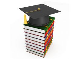3D Graphic Books With Graduation Cap Stock Photo