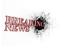 3d Graphic Breaking News Text With Cracked Background Stock Photo