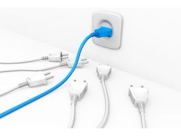 3d Graphic Of Blue Plug In Socket With Five White Plugs Besides Stock Photo