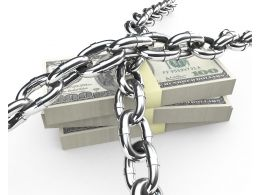 3d Graphic Of Chain Obove Dollar Bundle Stock Photo