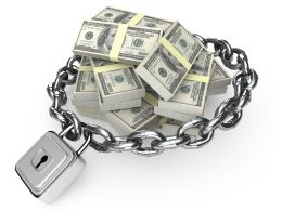 3d Graphic Of Chain Surrounding Dollar Bundles Stock Photo