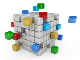3D Graphic Of Cubes For Process Flow Stock Photo