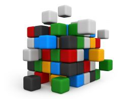 3D Graphic Of Cubes With Multicolor Stock Photo