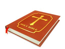 3D Graphic Of Holy Bible Book On White Background Stock Photo