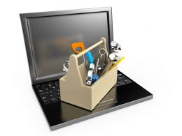 3D Graphic Of Laptop Stock Photo