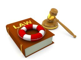 3d Graphic Of Law Book With Gavel And Life Saving Tube Stock Photo