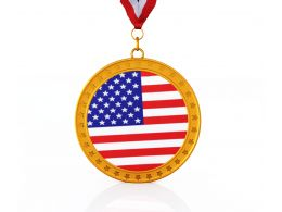 3D Graphic Of Medal With Flag Of America Stock Photo