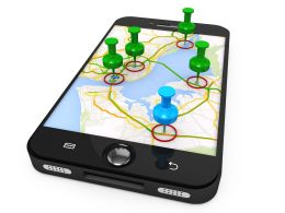 3d_graphic_of_mobile_with_map_and_clipart_pins_stock_photo_Slide01