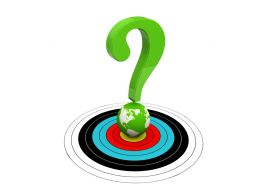 3d Graphic Of Question Mark On Globe Residing On Dartboard Stock Photo