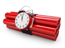 3d Graphic Of Red Colored Time Bomb Stock Photo