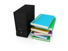 3D Graphic Of Server And Books In Cpu Stock Photo