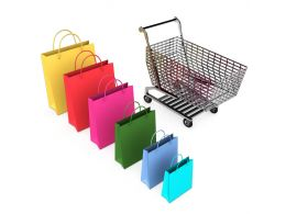 3D Graphic Of Shopping Bags Cart Stock Photo