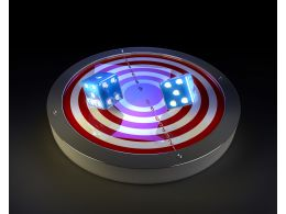 3D Graphic Of Target And Dices Stock Photo