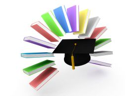 3d Graphic Of Text Books Encircling Graduation Cap Stock Photo