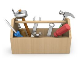 3D Graphic Of Tools With Box Stock Photo