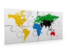 3D Graphic Of White Puzzle With Print Of World Map Stock Photo