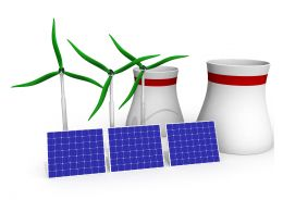 3D Graphic Of Windmill With Solar Panel Stock Photo