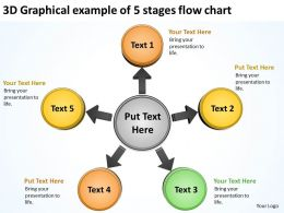 3d graphical example of 5 stages flow chart Cycle Network PowerPoint Slides