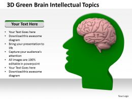 3D Green Brain Intellectual Topics Ppt Graphics Icons Powerpoint