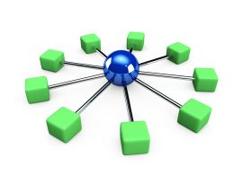 3D Green Client Computers Graphic In Network Connection Stock Photo