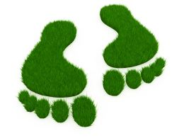 3D Green Foot Marks Stock Photo