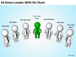 3d Green Leader With His Team Ppt Graphics Icons