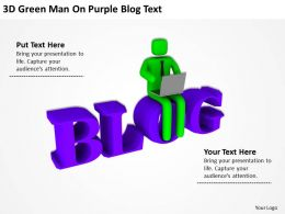 3D Green Man On Purple Blog Text Ppt Graphics Icons Powerpoint