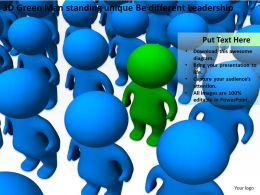 3D Green Man standing unique Be different Leadership Ppt Graphics Icons