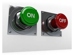 3D Green On And Red Off Switches On White Background Stock Photo