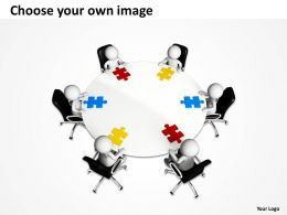 3D Group of Men Around Table With Jigsaw Puzzles Conference Ppt Graphic Icon