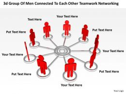 3d group of men connected to each other teamwork networking Ppt Graphic Icon