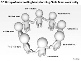3D Group of men holding hands forming Circle Team work unity Ppt Graphic Icon