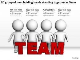 3D group of men holding hands standing together as Team Ppt Graphic Icon