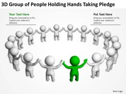 3D group of people holding hands taking plegde Ppt Graphics Icons