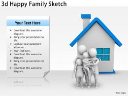 3d Happy Family Sketch Ppt Graphics Icons Powerpoint