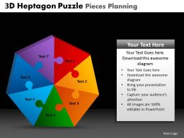 3D Heptagon Puzzle Pieces Planning Powerpoint Slides And Ppt Templates DB