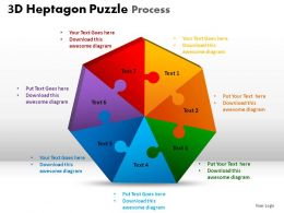 3D Heptagon Puzzle Process Powerpoint Slides
