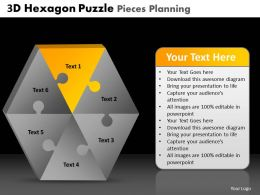 3D Hexagon Puzzle Pieces Planning Powerpoint Slides And Ppt Templates DB