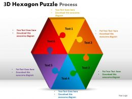 3D Hexagon Puzzle Process Powerpoint Slides