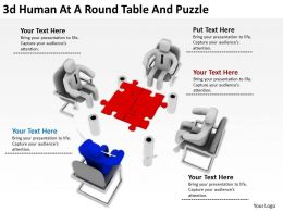 3d Human At A Round Table And Puzzle Ppt Graphics Icons