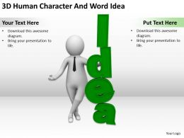 3D Human Character And Word Idea Ppt Graphics Icons Powerpoint