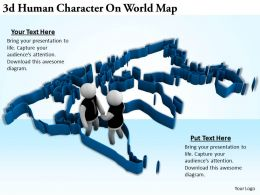 3d Human Character On World Map Ppt Graphics Icons Powerpoint
